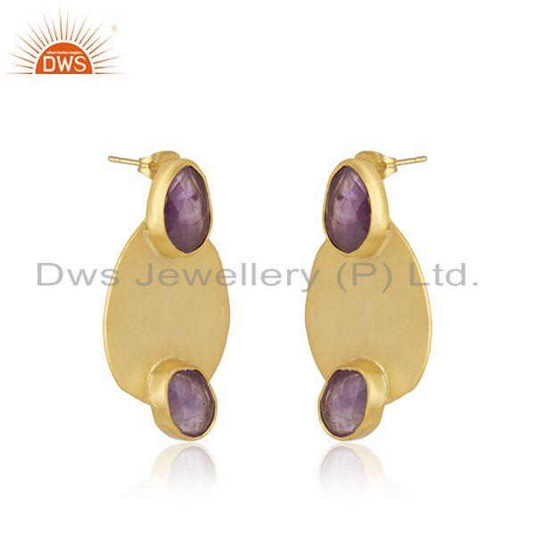 Exporter Amethyst Gemstone Gold Plated Brass Fashion Earrings Manufacturer India