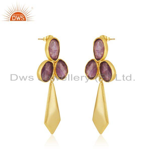 Exporter Amethyst Gemstone 14k Gold Plated Brass Fashion Girls Earrings Manufacturer
