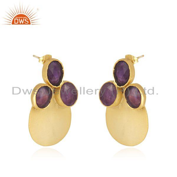 Exporter Amethyst Gemstone Gold Plated Brass Fashion Stud Earrings Wholesaler India