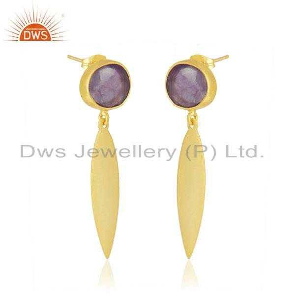 Exporter Handmade Brass Yellow Gold Plated Amethyst Gemstone Fashion Earrings Supplier