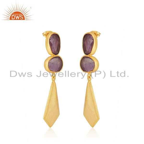 Exporter Amethyst Gemstone 14k Gold Plated Brass Fashion Earrings Jewelry Manufacturer