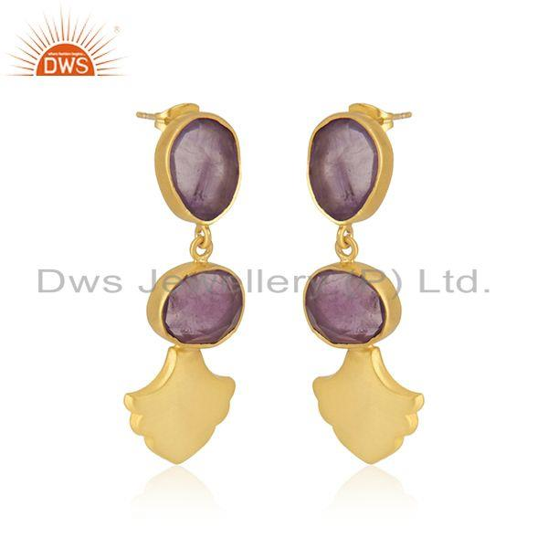 Exporter Amethyst Gemstone Gold Plated Brass Fashion Earrings Jewellery Manufacturer