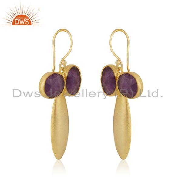 Exporter Amethyst Gemstone Gold Plated Brass Fashion Earring Jewellery Manufacturer India