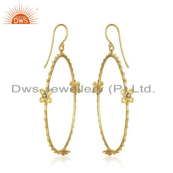Exporter Handmade 925 Silver Gold Plated White Zircon Round Earring Wholesale