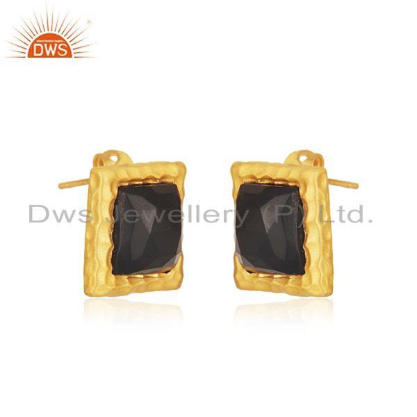 Exporter Square Black Onyx Gemstone Gold Plated Brass Fashion Stud Earrings