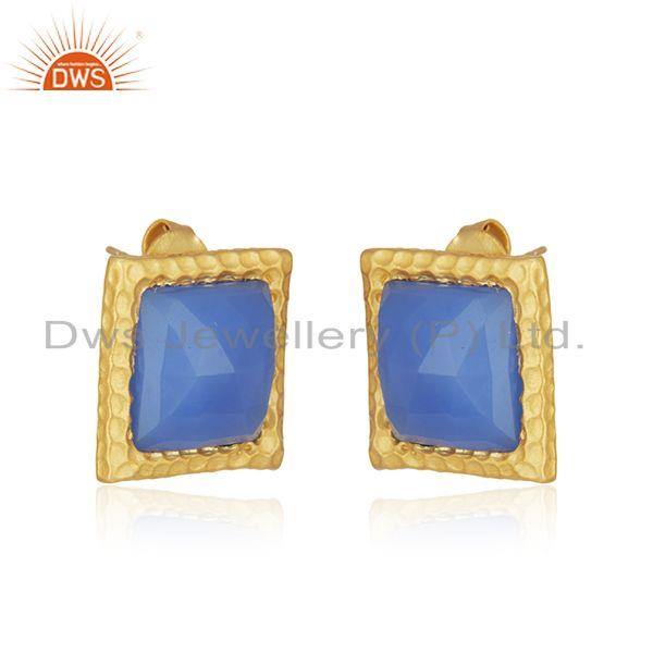 Exporter Blue Chalcedony Gemstone Gold Plated Brass Fashion Stud Earrings