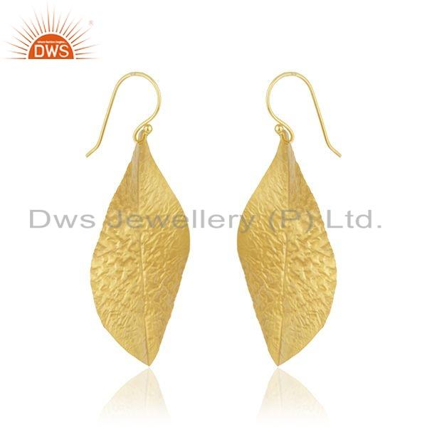 Exporter Leaf Design Textured Gold Plated Brass Fashion Earrings For Womens