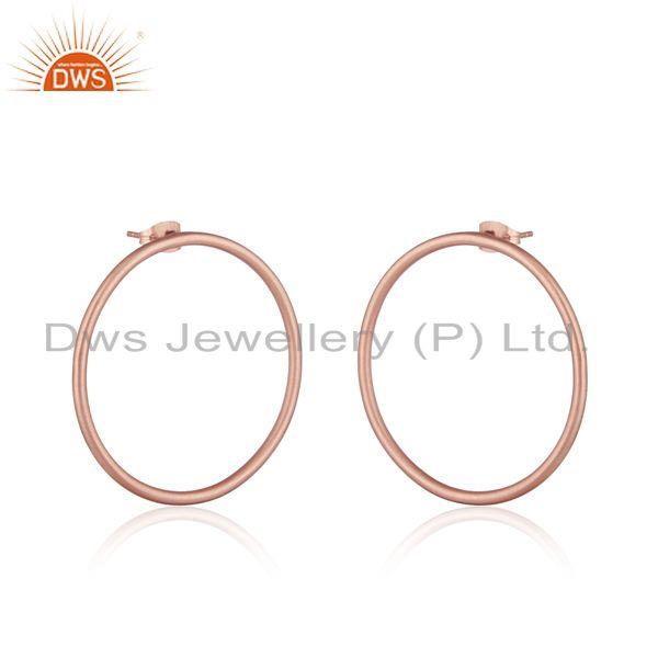 Midi circle design rose gold plated brass fashion earrings jewelry
