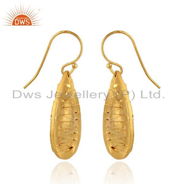 Exporter Handmade Yellow Gold Plated Brass Fashion Drop Earrings Jewelry