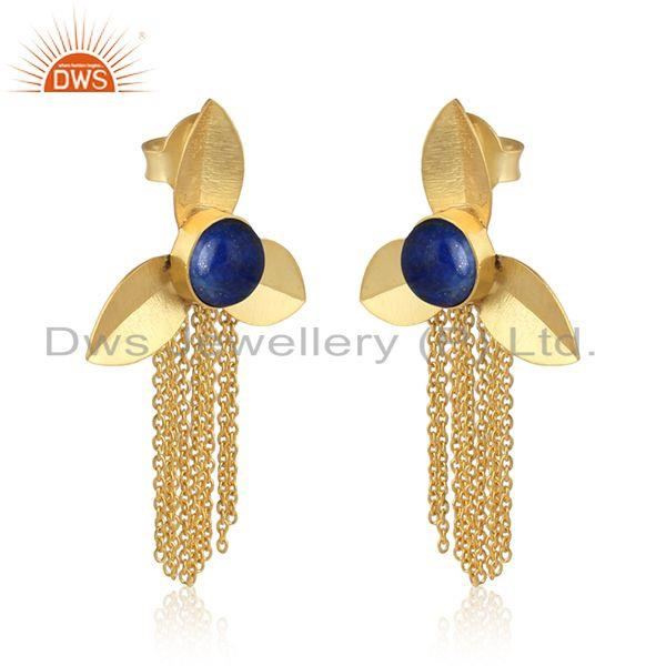 Chandelier leaf design lapis fashion earrings with yellow gold on