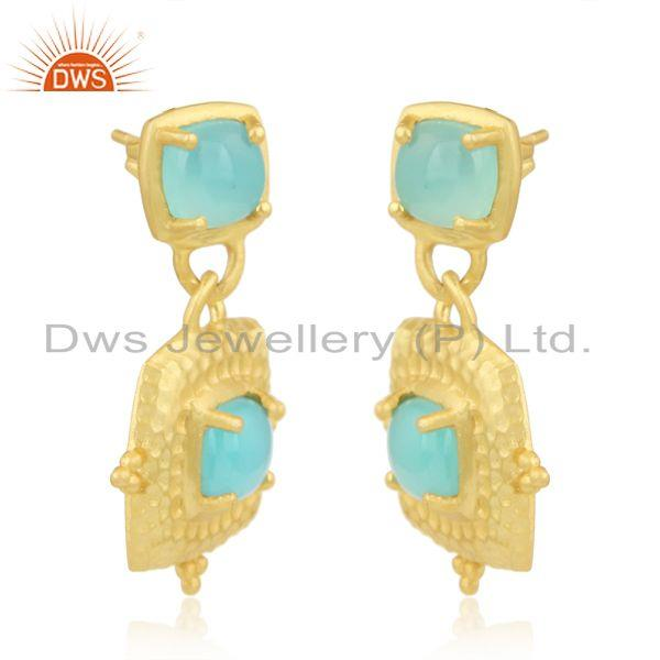 Bold hammered fashion dangle with gold on and aqua chalcedony