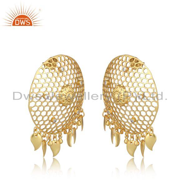 Designer honeycomb yellow gold on fashion large earring with cz
