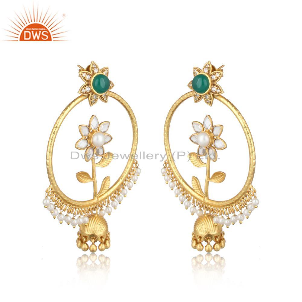 Floral design gold on fashion jhumka with pearl, green onyx, cz