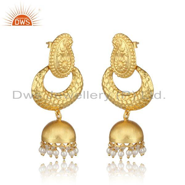 Traditional designer yellow gold on fashion jhumka with pearls