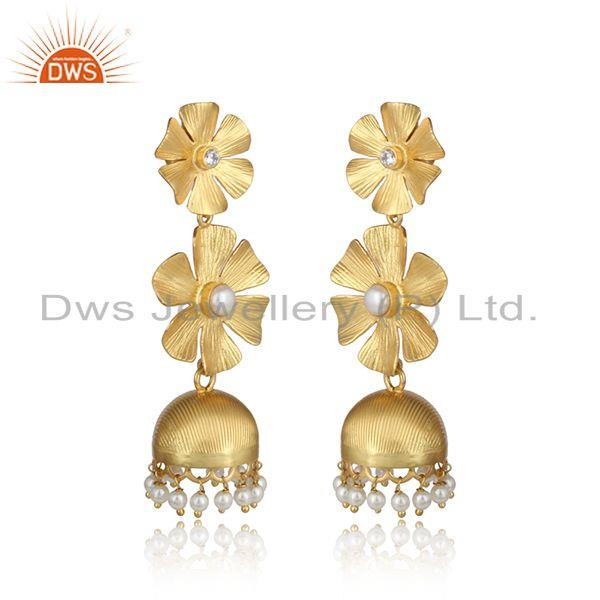 Textured floral designer gold on fashion jhumka with pearl and cz