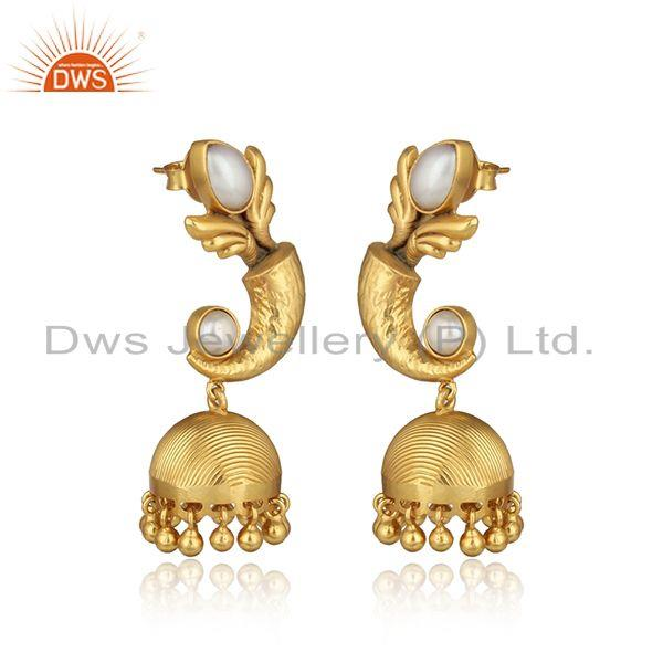 Textured designer gold on traditional fashion jhumka with pearls