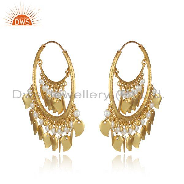 Traditional pearl yellow gold on chand bali fashion hoop earrings
