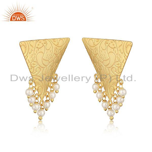 Handmade designer yellow gold on fashion earring with pearl
