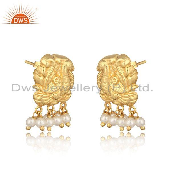 Traditional designer yellow gold on fashion earring with pearl