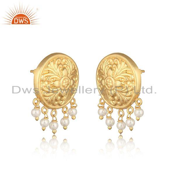 Handcrafted textured yellow gold on fashion earring with pearl