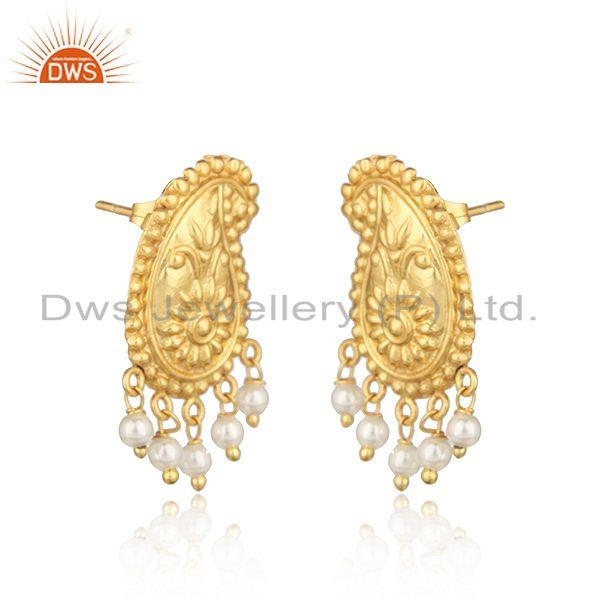 Designer traditional yellow gold on fashion earrings with pearls