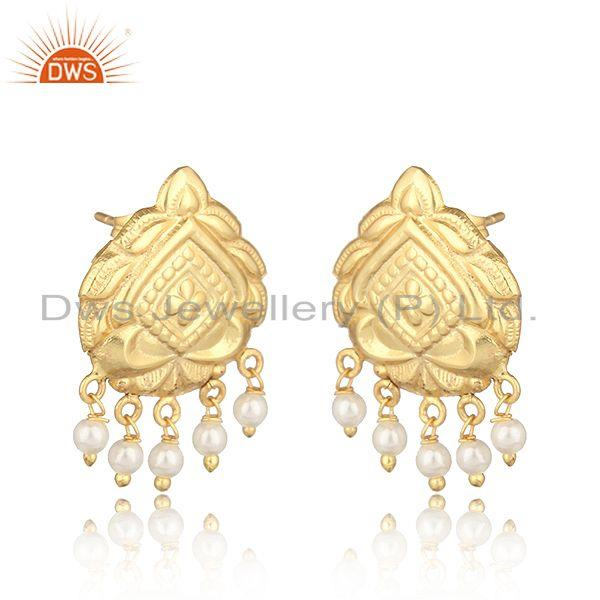 Handmade traditional designer gold on fashion earrings with pearl