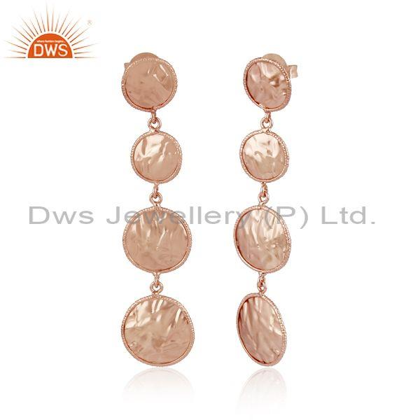 Handmade and handhammered rose gold on brass long earring
