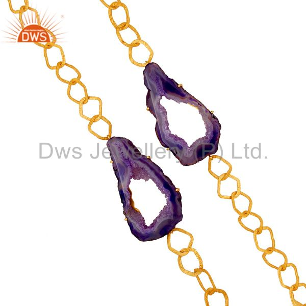 Exporter Natural Hole Druzy 18K Gold Plated Necklace Handmade Link Chain Fashion Jewelry
