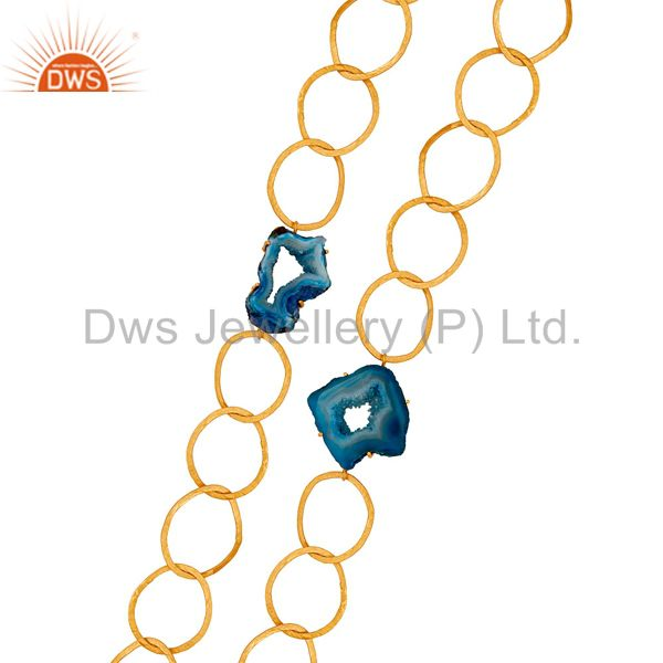 Exporter Natural Blue Druzy 18K Gold Plated Necklace with Link Chain Fashion Jewelry
