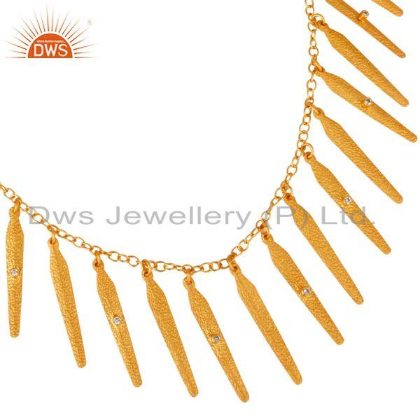 Exporter 18K Yellow Gold Plated Brass Matte Finish Spike Designs CZ Necklace