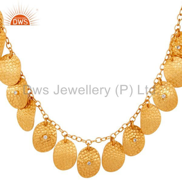 Exporter 18K Gold Plated Hand Hammered Artisan Jewelry Necklace
