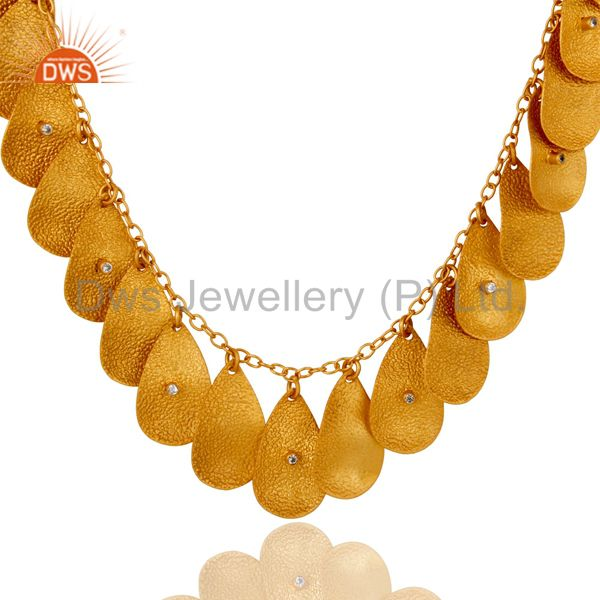 Exporter 18K Gold Plated Handmade Textured Necklace With White Zircon Fashion Jewelry