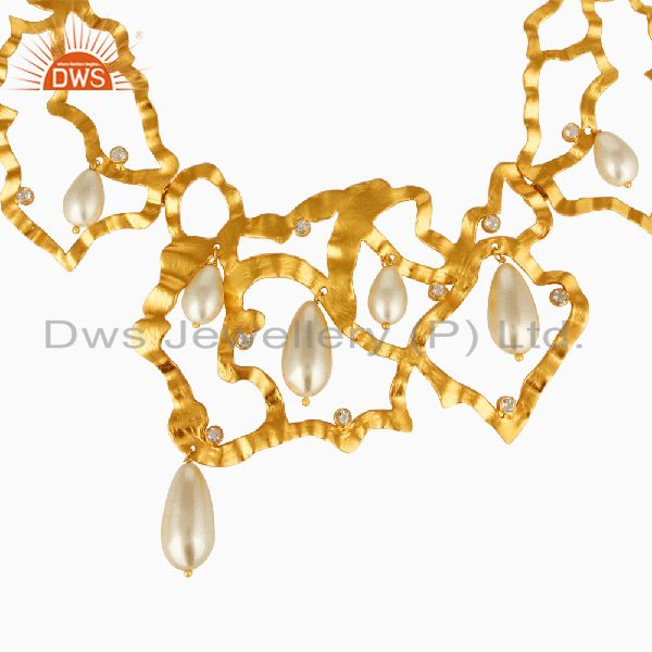 Exporter 18k Gold Plated Pearl and White Topaz Handmade Art Deco Designer Necklace