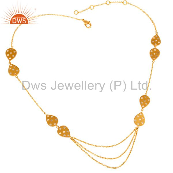 Exporter 22K Yellow Gold Plated Cubic Zirconia Layered Chain Womens Fashion Necklace