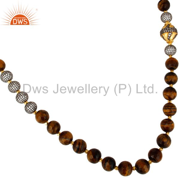 Exporter 18K Yellow Gold Plated Tiger Eye Gemstone Beaded And CZ Spheres Necklace