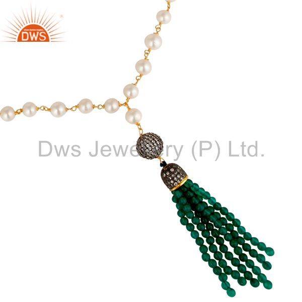 Exporter 18K Gold Plated Sterling Silver Pearl And Green Onyx Tassel Pendant Necklace