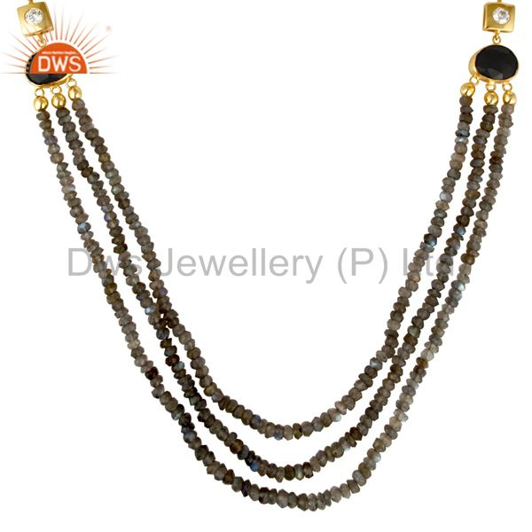 Exporter 18K Yellow Gold Plated Sterling Silver Labradorite And Black Onyx Beads Necklace