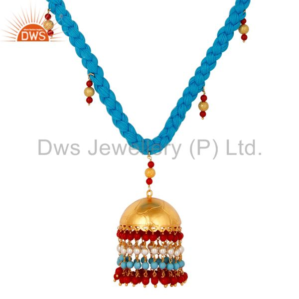 Exporter White Pearl Coral and Turquoise Indian Traditional 18K Gold Plated Necklace
