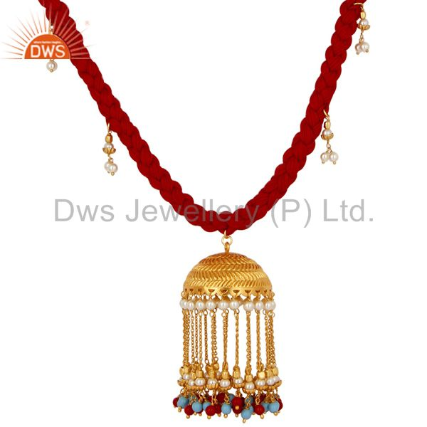 Exporter Indian Traditional White Pearl Coral and Turquoise 18K Gold Plated Necklace