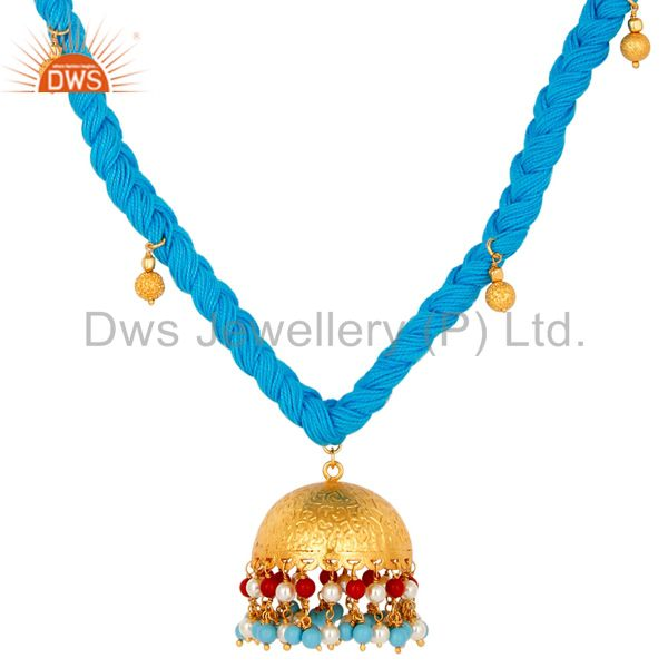Exporter White Pearl Coral and Turquoise Indian Traditional Gold Plated Necklace