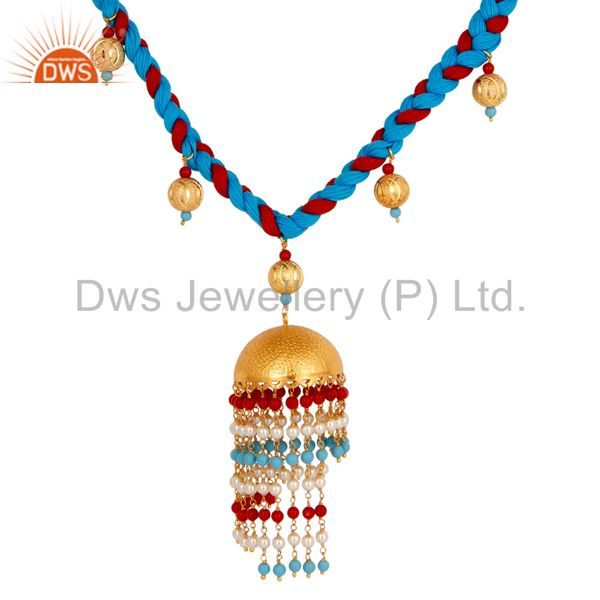 Exporter 18K Gold Plated White Pearl Coral and Turquoise Indian Traditional Necklace