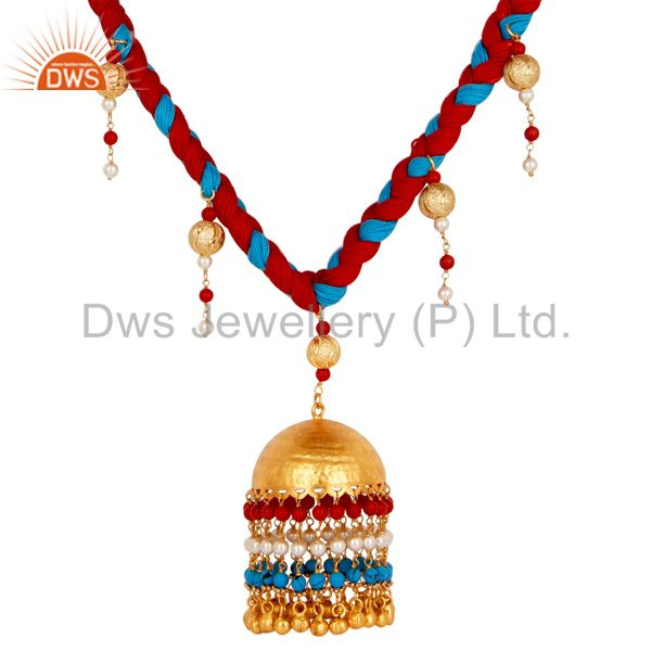 Exporter White Pearl Coral and Turquoise Indian Handcrafted 18K Gold Plated Necklace