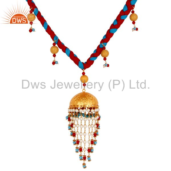 Exporter Turquoise Coral and White Pearl Indian Handcrafted 18K Gold Plated Necklace