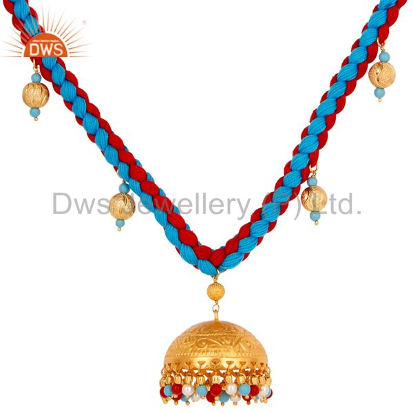 Exporter Turquoise Coral and White Pearl Indian Traditional 18K Gold Plated Necklace