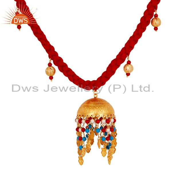 Exporter 18K Gold Plated Turquoise Coral and White Pearl Indian Handcrafted Necklace