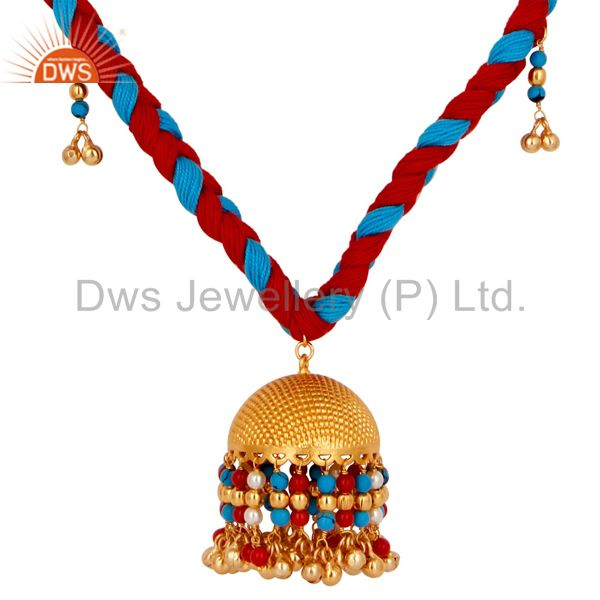 Exporter 18K Gold Plated Turquoise Coral and White Pearl Indian Traditional Necklace