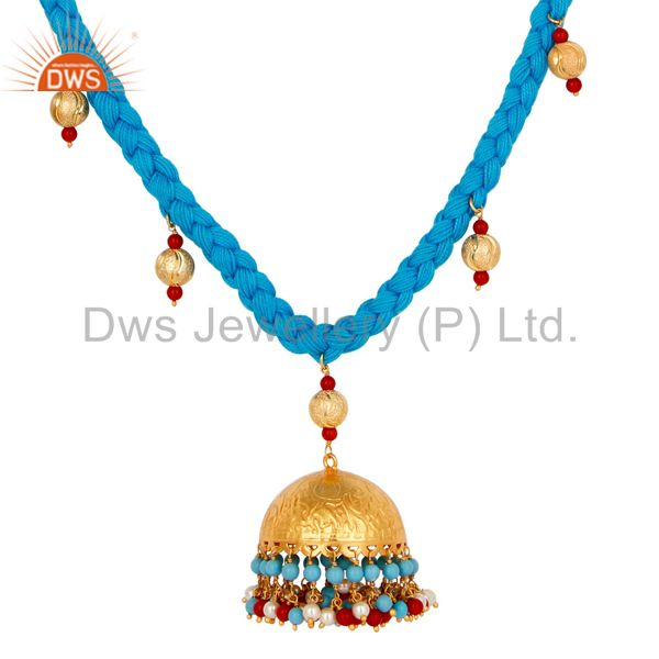 Exporter Indian Handcrafted Turquoise Coral and White Pearl 18K Gold Plated Necklace