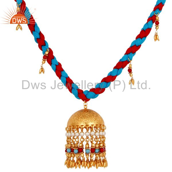 Exporter Indian Traditional Turquoise Coral and White Pearl 18K Gold Plated Necklace