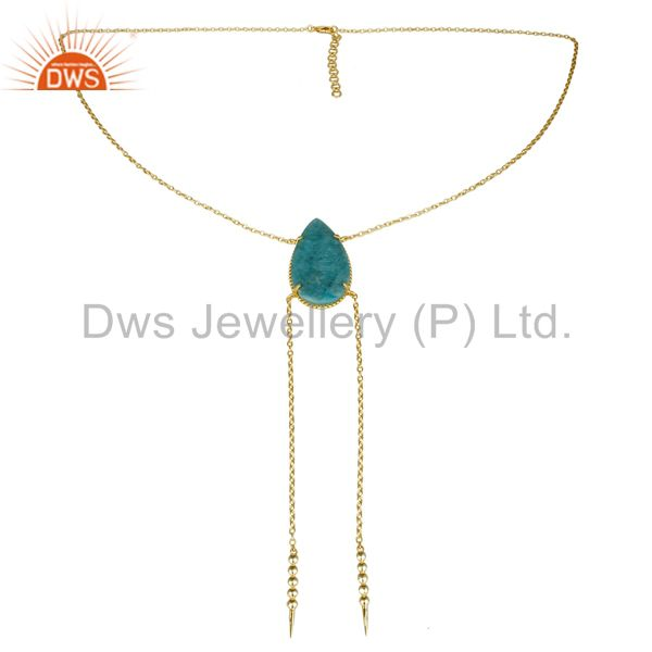 Exporter 14K Gold Plated Handmade Pear Cut Natural Amazonite Chain Link Necklace