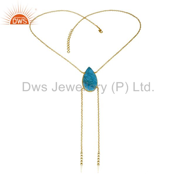 Exporter 14K Gold Plated Handmade Pear Cut Natural Turquoise Chain Link Necklace